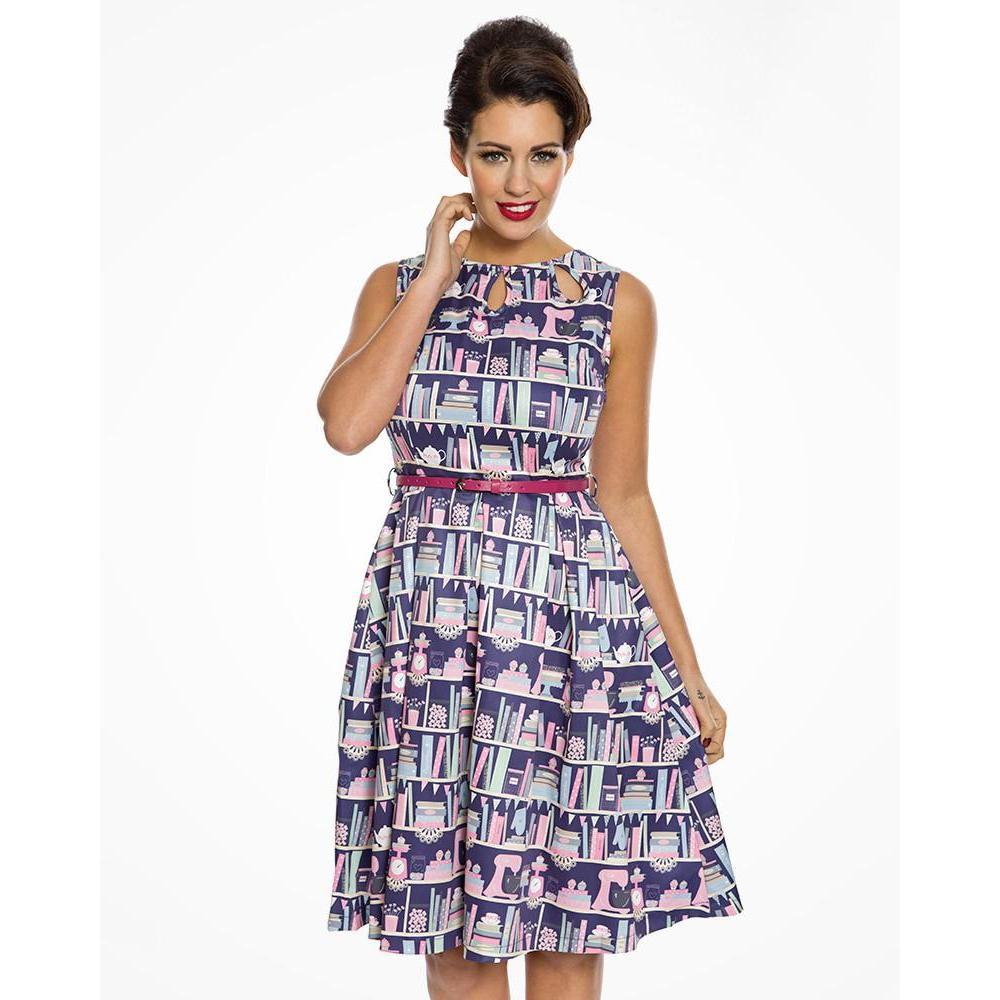 Lindy Bop Lily Purple Baking Bookcase Print Swing Dress-Vendemia