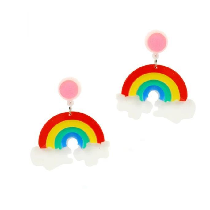 Love Ur Look Rainbow Earrings-Multi Coloured-Vendemia