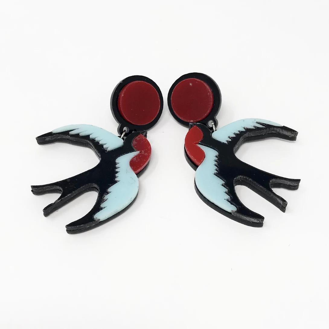 Love Ur Look Swallow Earrings-Multi Coloured-Vendemia