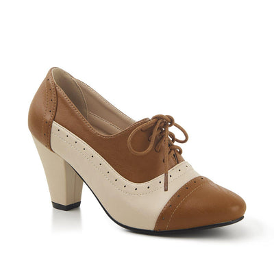 Lulu Hun Elizabeth High Heel Shoes-Ivory/Brown-Vendemia