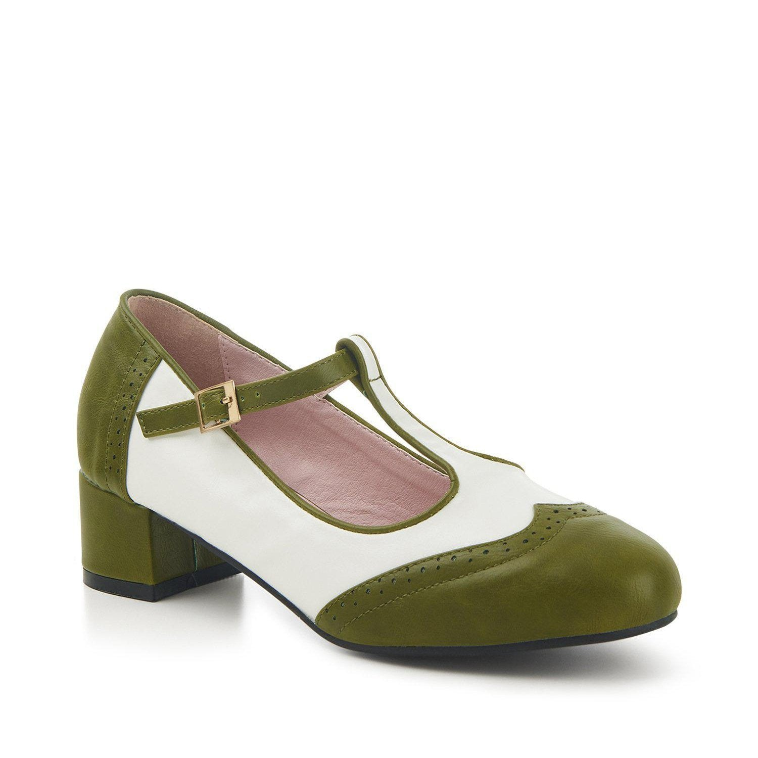 Lulu Hun Georgia Block Heel Shoes-Green/White-Vendemia