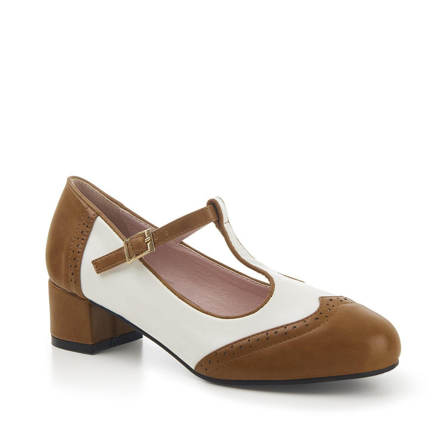 Lulu Hun Georgia Block Heel Shoes-Brown/White-Vendemia