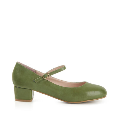 Lulu Hun Maryjane Block Heel Shoes Green-Vendemia