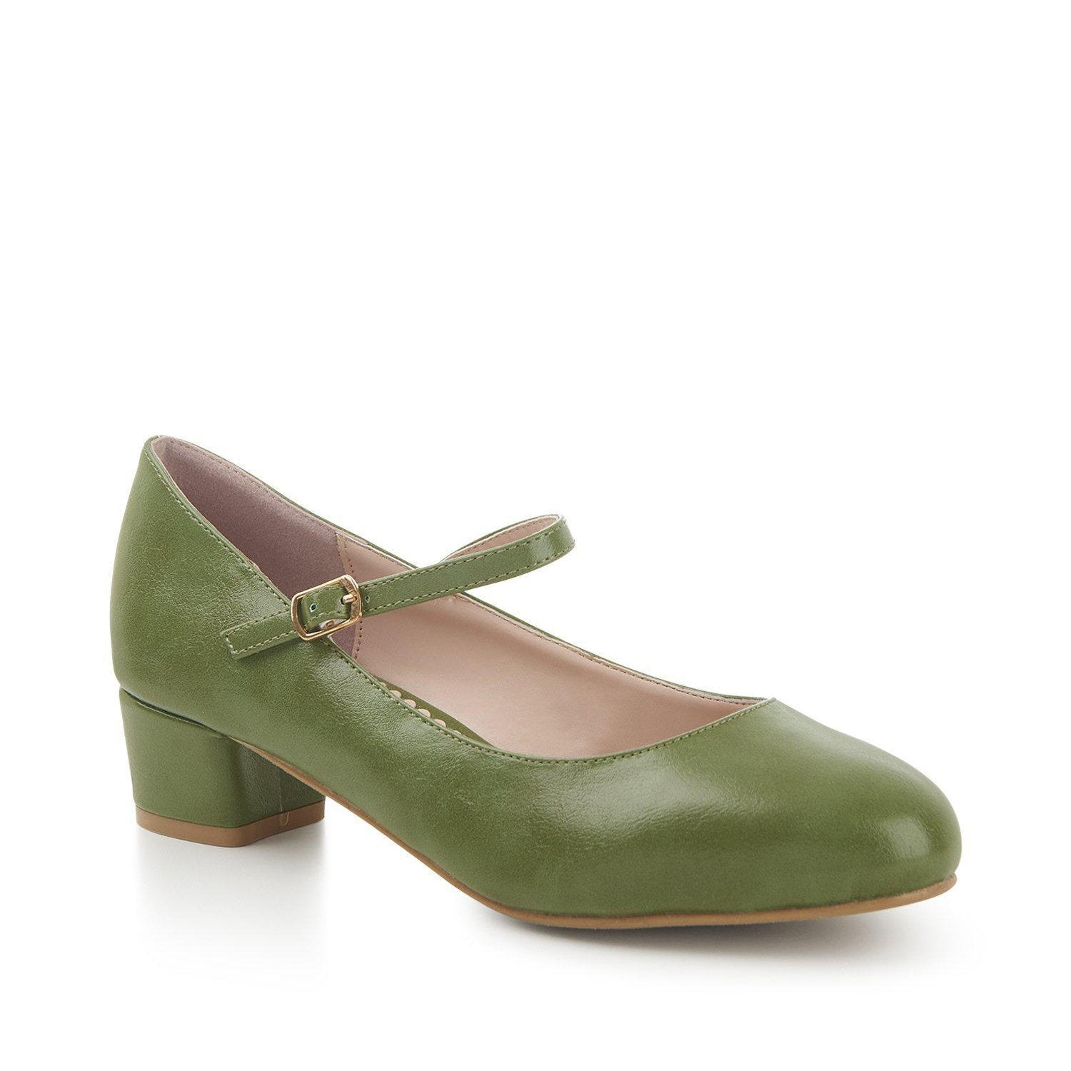 Lulu Hun Maryjane Block Heel Shoes Green-Green-Vendemia