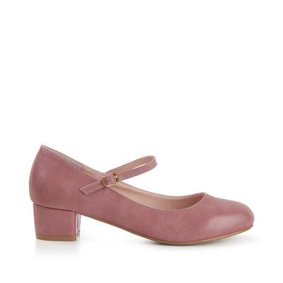 Lulu Hun Maryjane Block Heel Shoes Pink-Vendemia
