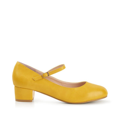 Lulu Hun Maryjane Block Heel Shoes Yellow-Vendemia