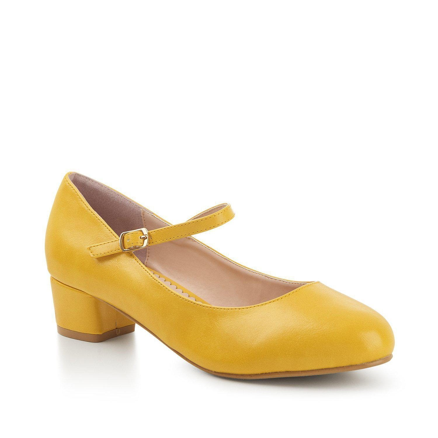 Lulu Hun Maryjane Block Heel Shoes Yellow-Yellow-Vendemia