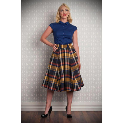 Miss Candy Floss Tiffany Lee Swing Skirt Tartan-Mustard-Vendemia