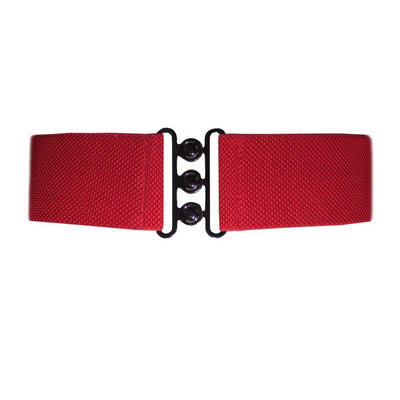 Collectif Accessories Nessa Cinch Belt stretchy belt that sits on the waist with a shiny clasp in colours black, red, green, giving an hour glass figure