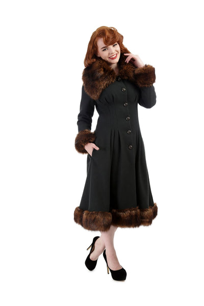 Collectif Vintage Pearl Coat Dark Green