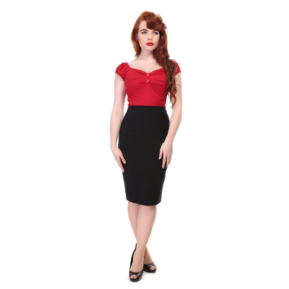 Collecif Mainline Polly Bengaline Pencil Skirt lovely and comfortable pencil skirt in black, split at the back, button and zip too, stretchy material. pair with the cat lady Tshirt