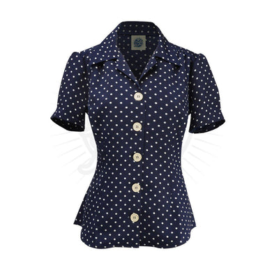 Pretty Retro Pretty 40s Blouse-Polka Dot-Vendemia