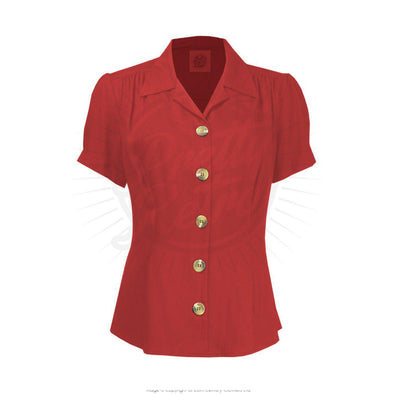 Pretty Retro Pretty 40s Blouse-Red-Vendemia