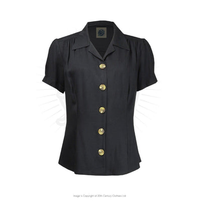 Pretty Retro Pretty 40s Blouse-Black-Vendemia