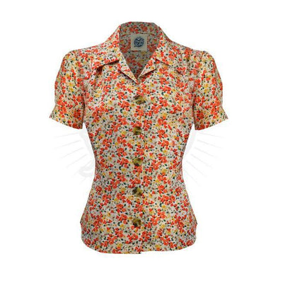 Pretty Retro Pretty 40s Blouse-Ditsy-Vendemia