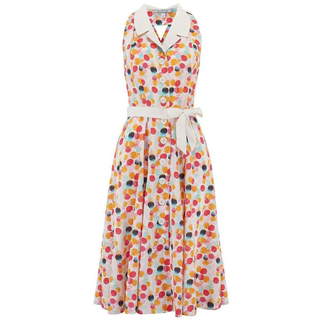 Rock n Romance Lindy Bubblegum Halter Dress-Multi Coloured-Vendemia