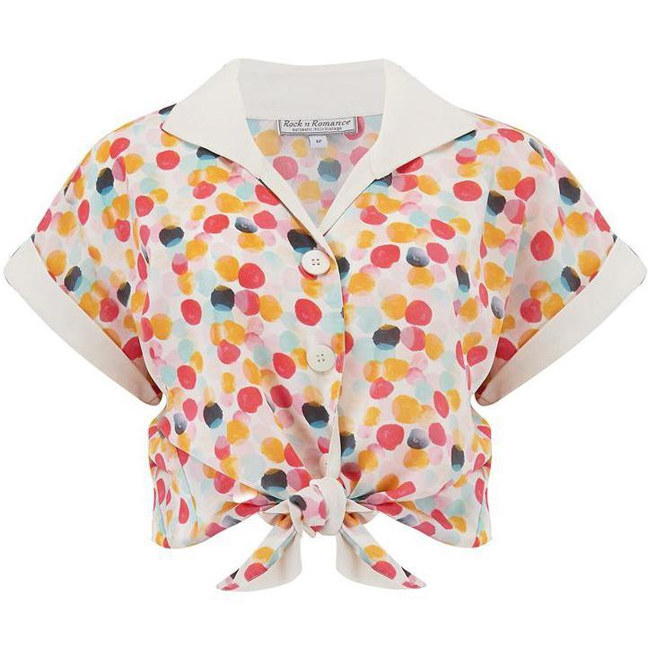 Rock n Romance Tuck in or Tie Up Maria Blouse Bubblegum Print-Multi Coloured-Vendemia