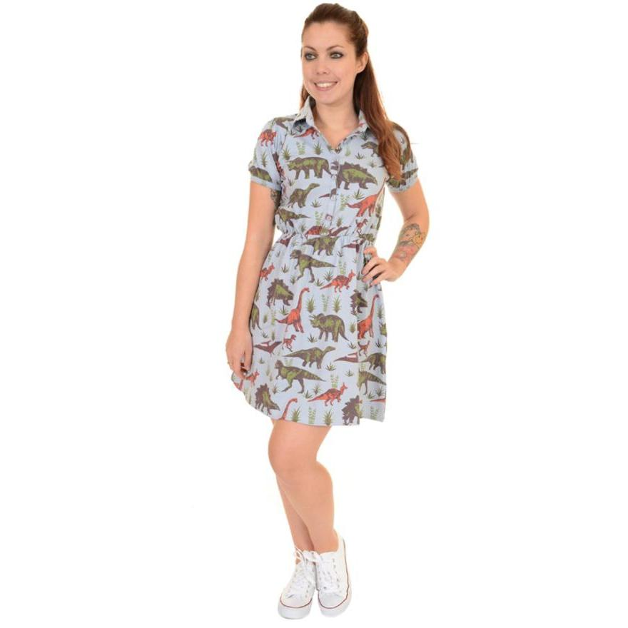 Run & Fly Dinosaur Adventure Retro Skater T shirt Dress-Vendemia