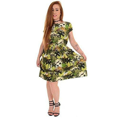 Run & Fly Dinosaur Jurassic Dress-Green-Vendemia