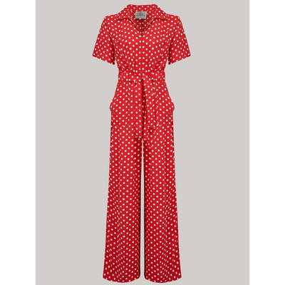 The Seamstress of Bloomsbury Lauren Siren Suit in Red Spot-Vendemia