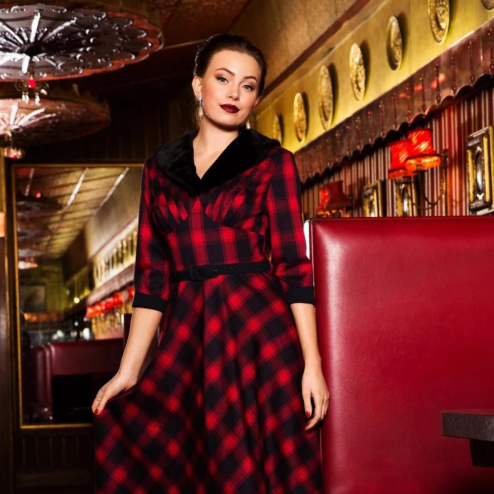 Voodoo Vixen Bettie Plaid Swing Dress Red-Red-Vendemia
