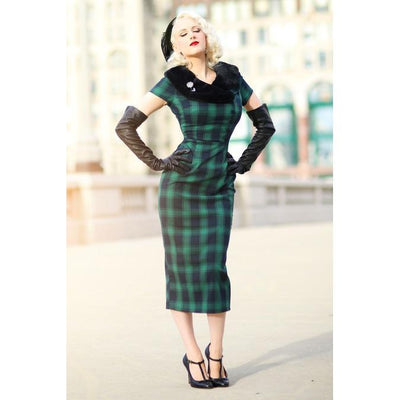 Voodoo Vixen Rachel Tartan Dress with Fur Collar-Green-Vendemia