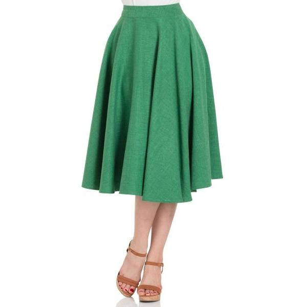 Voodoo Vixen Sandy Full Circle Skirt-Green-Vendemia