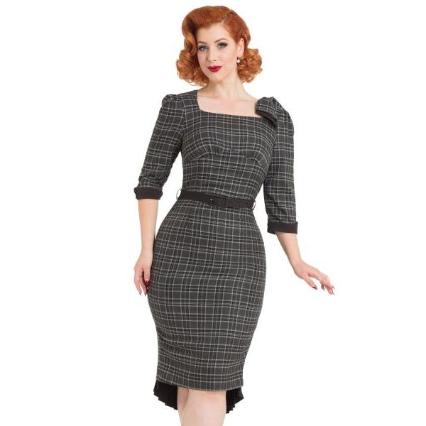 Voodoo Vixen Veronica Tartan Pencil dress-Grey-Vendemia