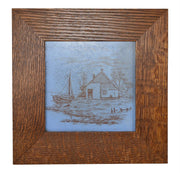 American Encaustic Tile Company AETCO Faience Pottery Scenic Blue Framed Tile - Just Art Pottery