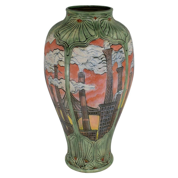 Calmwater Designs Stephanie Young Pottery 2016 Industrial City Scape Floor Vase - Just Art Pottery