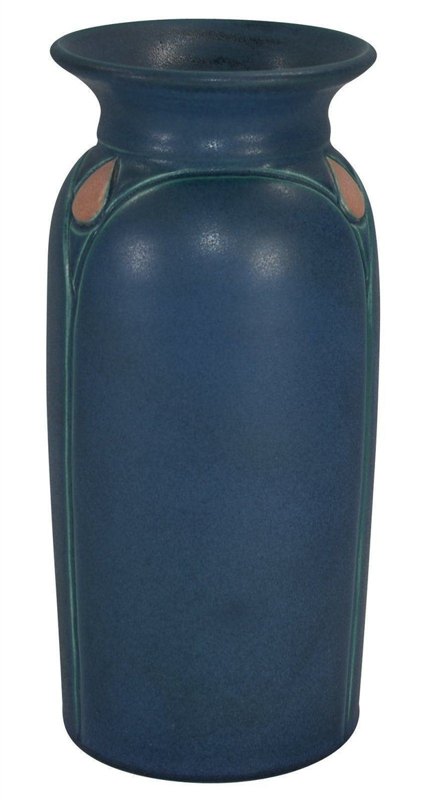 Chris Powell Studio Pottery 2003 Tall Blue Vase With Carved Pink Buds 4 - Just Art Pottery