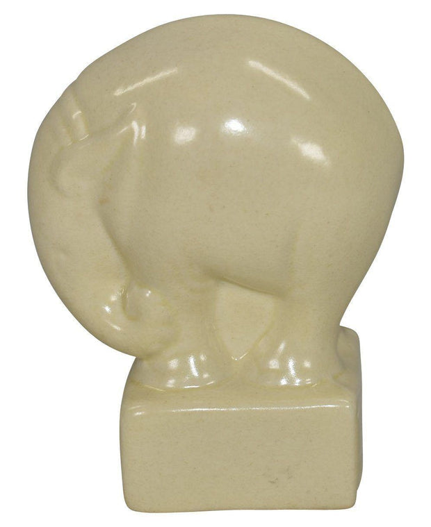 Cowan Pottery 1930 Art Deco Elephant Ivory Paperweight - Just Art Pottery