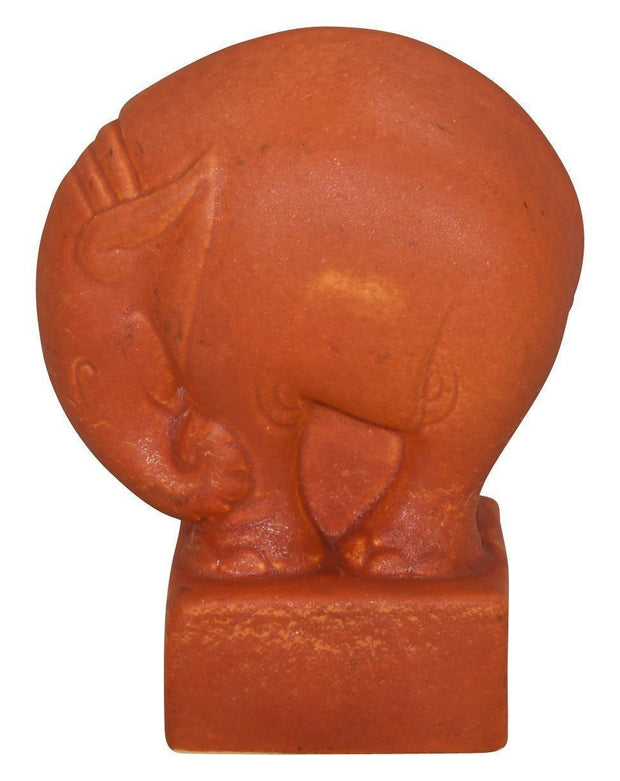 Cowan Pottery 1930 Art Deco Elephant Oriental Red Paperweight - Just Art Pottery