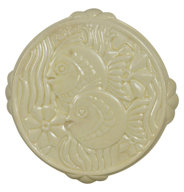 Cowan Pottery Art Deco 1930 Ivory Fish Tea Tile 929 - Just Art Pottery