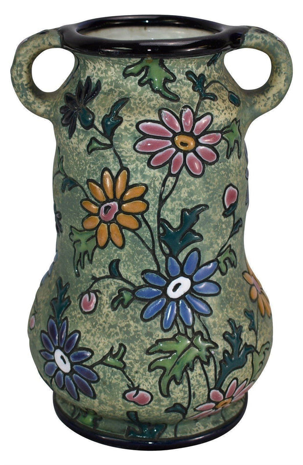 Czechoslovakian Amphora Pottery Colorful Enameled Floral Handled Ceramic Vase - Just Art Pottery