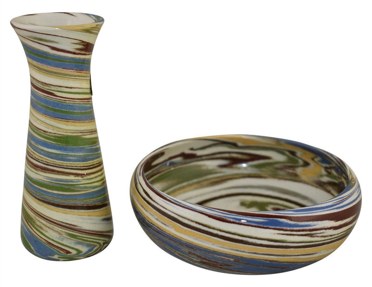 Desert Sands Swirl Pottery Bud Vase And Low Bowl - Just Art Pottery