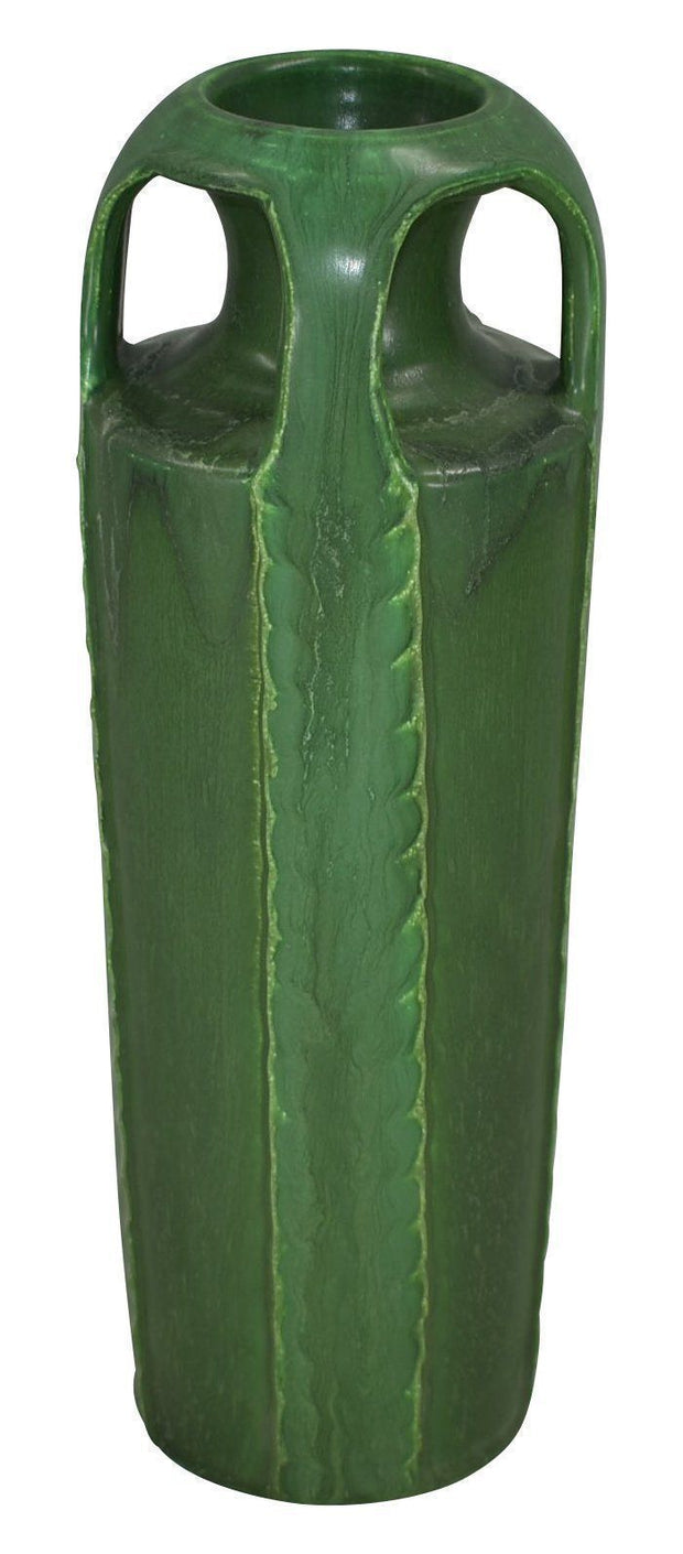 Door Pottery Four Handled Matte Green Arts and Crafts Vase - Just Art Pottery