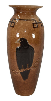 Door Pottery High Glaze Brown Black Bird Vase (Kreigh) - Just Art Pottery