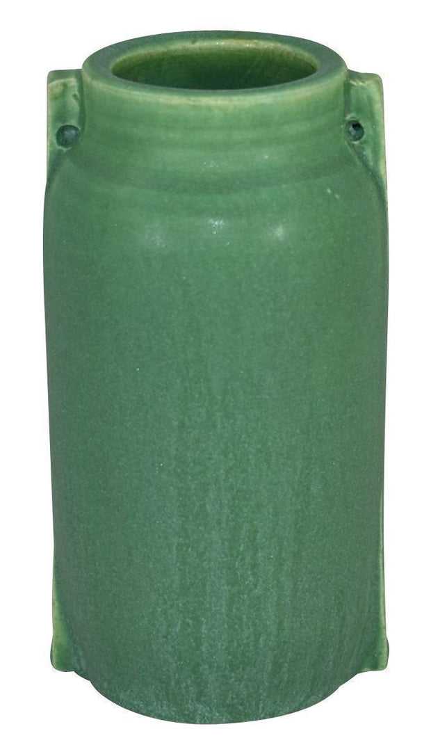 Door Pottery Matte Green Glaze Two Buttress Vase - Just Art Pottery