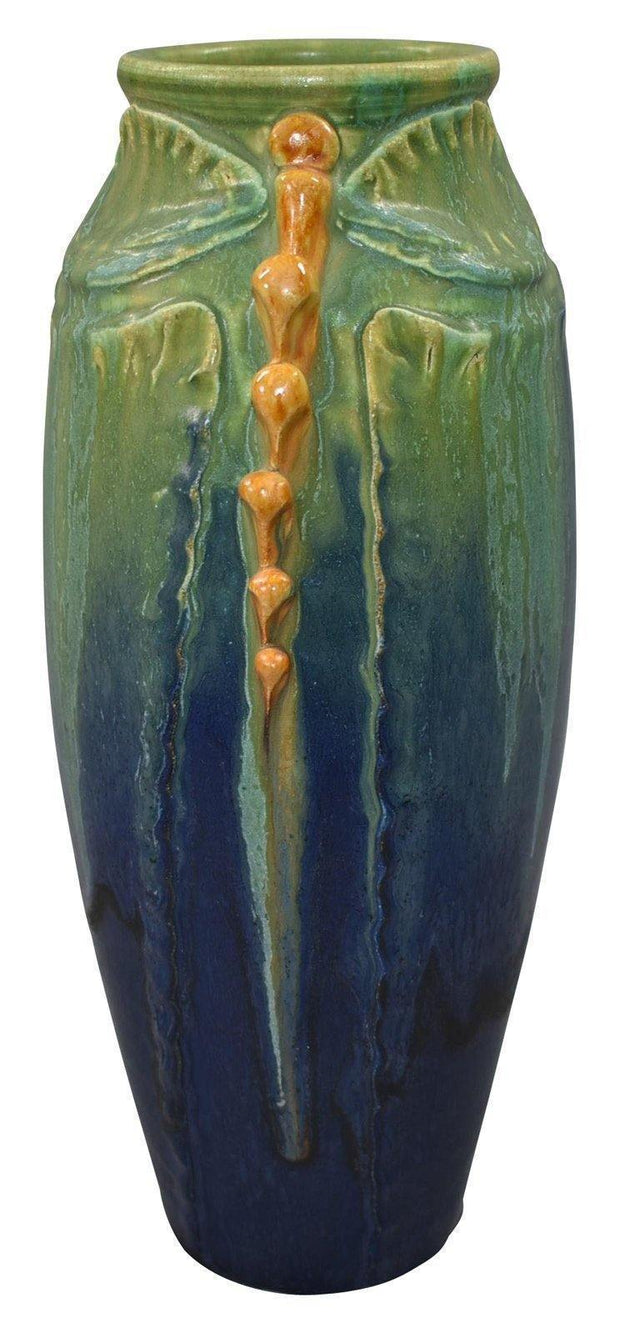 Door Pottery Mottled Blue and Green Dragonfly And Leaves Vase - Just Art Pottery