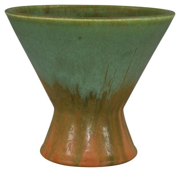 Door Pottery Orange With Green Drip Flaring Rim Vase - Just Art Pottery