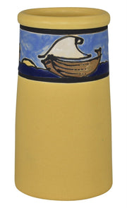 Door Pottery Saturday Evening Girls Scenic Sail Boats Yellow Vase - Just Art Pottery