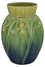 Door Pottery Yellow Flower Northern Lights Blue Glaze Vase - Just Art Pottery