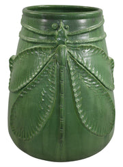 Door Studio Pottery 2007 Large Wheatley Matte Green Dragonfly Vase - Just Art Pottery