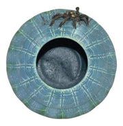 Door Studio Pottery 2009 Spider On A Web Blue And Green Flowing Glaze Vase - Just Art Pottery