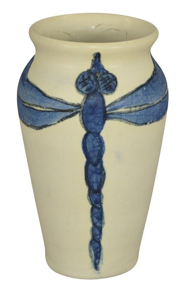 Door Studios Pottery Experimental White Vellum Blue Dragonfly Vase (Draves) - Just Art Pottery