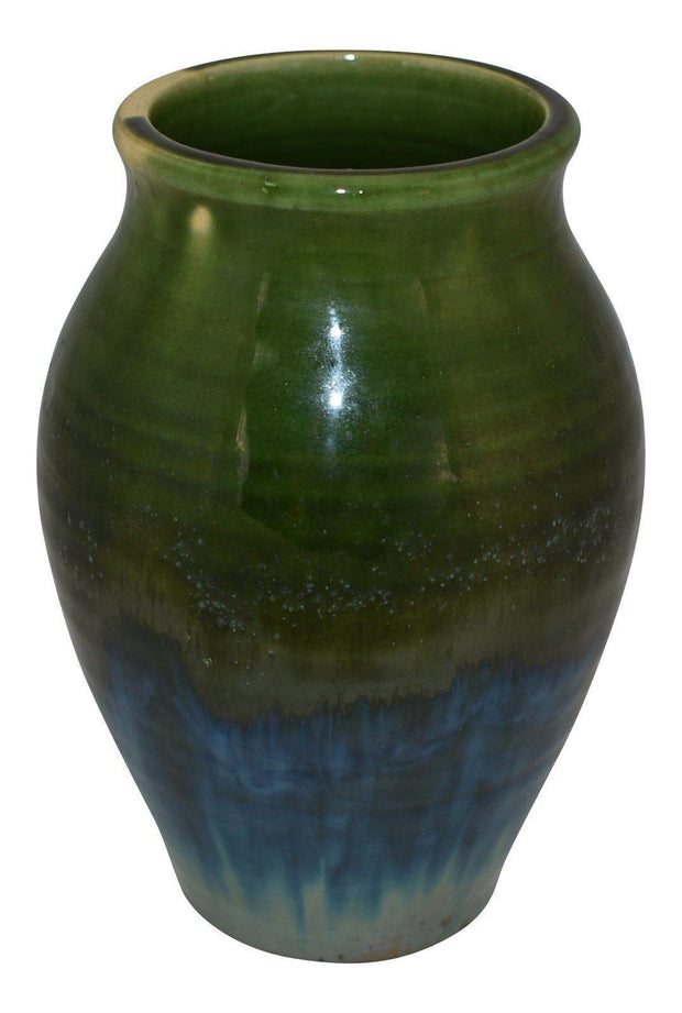 Ephraim Faience Pottery 1998 Crystal Flambe Green to Blue Flowing Glaze Vase 830 - Just Art Pottery