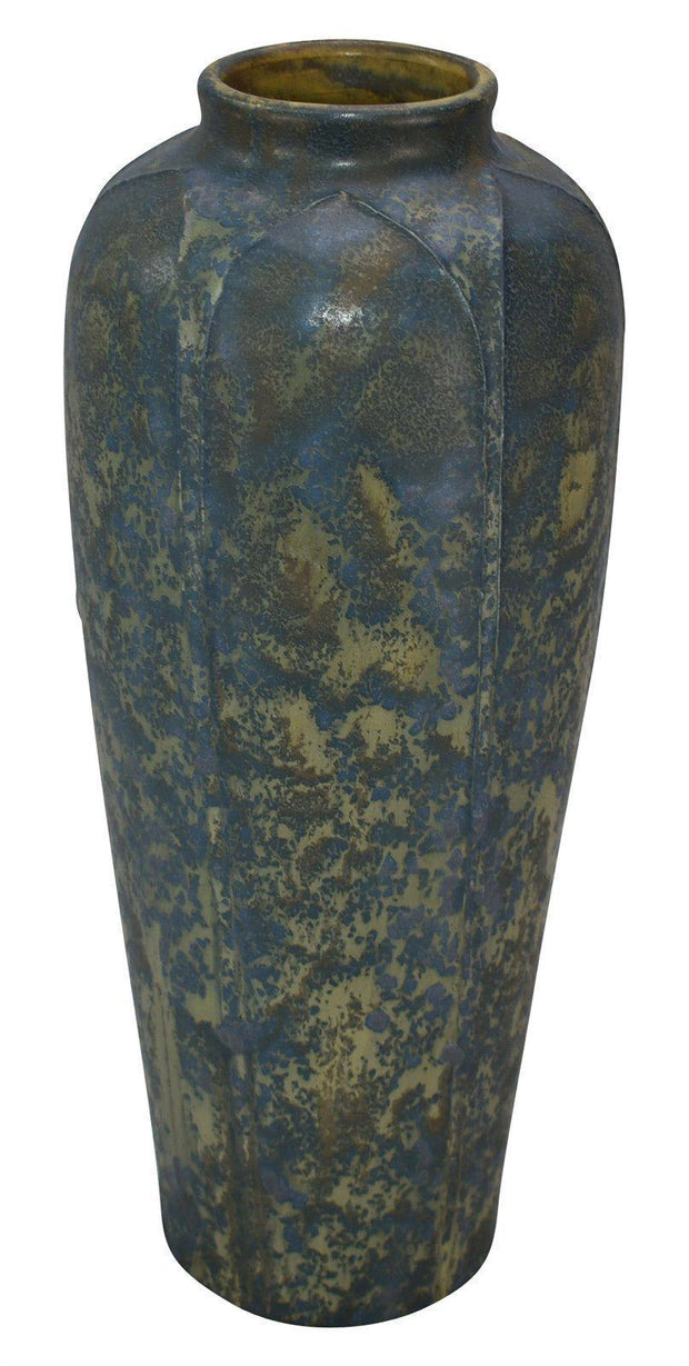 Ephraim Faience Pottery 2000 Spider Lily Blue Curdle Ceramic Vase 710 - Just Art Pottery