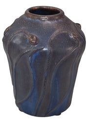 Ephraim Faience Pottery 2001 Experimental Budding Poppies Short Ceramic Vase - Just Art Pottery