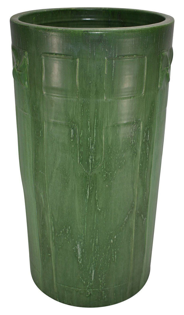 Ephraim Faience Pottery 2001 Matte Green Geometric Design Umbrella Stand 125 from Just Art Pottery